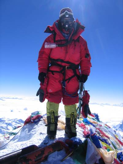 Fiona on the summit of Mount Everest. Photo Mingma Ongel Sherpa